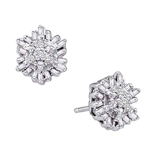 The Diamond Deal 14kt White Gold Womens Round Baguette Diamond Cluster Stud Earrings 1/10 Cttw ()