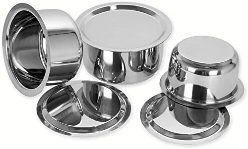 Vinayak Traders 3 Pcs Stainless Steel Induction  amp; Gas Stove Friendly Container Set/Tope/Cookware Set with Lids Size No.10 to No.12