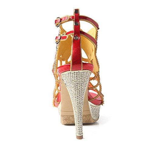 de CAI de tamaño de Mujer de Alto Diamantes Abierta de 38 tacón Mujeres Sandalias Sandalias tacón Diamante Lujo Punta de de imitación 4f4zq