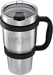 Insulated Tumbler Mug Travel Cup - 30 oz Premium Large Thermal Set w/ Anti Slip Handle and Leak Proof Lid - Vacuum Double Wall Stainless Steel Cup Keeps Coffee - Tea Cold / Hot Drink
