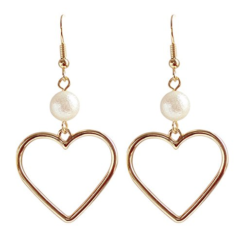 18K Gold Plated Elegant Hollow Golden Peach Heart With imitation pearl Women Dangle Earrings