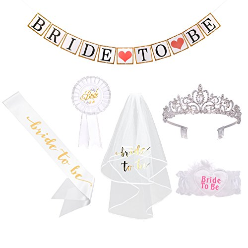 Small Rhinestone Kit - Bachelorette Party Decorations Kit - 6 Pcs Wedding Party Bridal Shower Favors,Inluding Bride to Be Sash,Rhinestone Tiara,Bride Veil,Bride To Be Banner,Bridal Badge Brooch and Wedding Garters