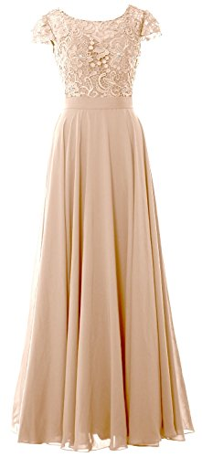 MACloth Women Cap Sleeve Mother Of Bride Dress Vintage Lace Evening Formal Gown (18w, (Grande Dame Champagne)