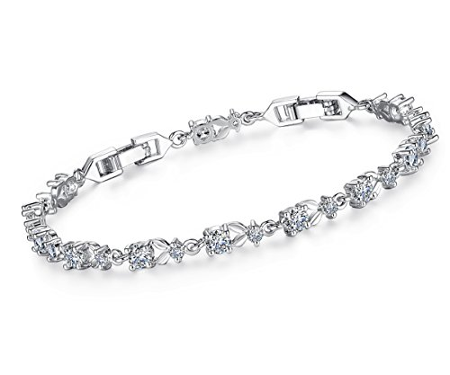 Elegant Tennis Bracelets,Women Bangle for Jewelry Gifts with White Gold Plated Borong
