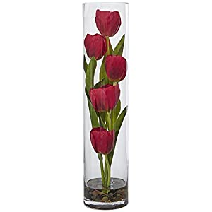 "Nearly Natural Tulips Silk Arrangement in 18"" H Cylinder Glass, Red 92"