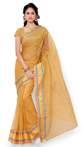 7 Colors Lifestyle Beige Coloured Cotton Blended Net Saree (Beige_Sari)