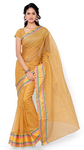 7 Colors Lifestyle Beige Coloured Cotton Blended Net Saree (Beige_Sari)