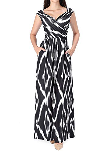 VFSHOW Womens Black White Striped Print V Neck Ruched Draped Front Pockets Pleated Casual Formal A-Line Maxi Dress G3130 BLK XS