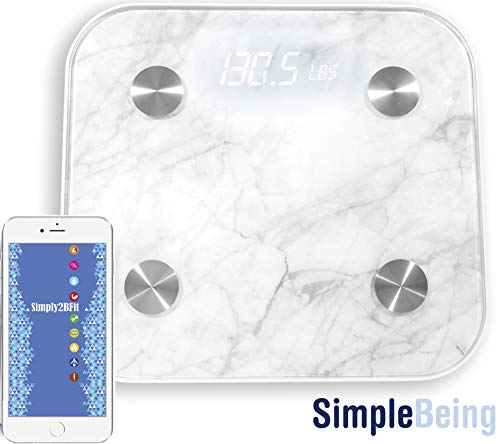 Simple Being Bluetooth Body Fat Scale, Smart Wireless Digital Bathroom Weighing Scale 400LB Capacity, Measures Weight, Water, Muscle Mass, BMI, Bone Mass, Visceral Fat, Calorie, with iOS, Android App (Best Way To Drop Body Fat Percentage)