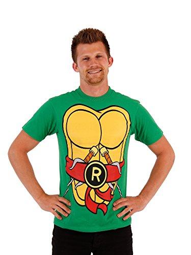 TMNT Teenage Mutant Ninja Turtles Raphael Costume Flip Green Adult T-shirt Tee (Small) - Tmnt Raphael Adult Costumes Top