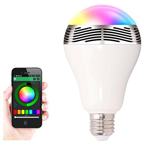 EVTECH(TM) Smart-Home LED-Glühbirne mit integriertem Lautsprecher - RGB Leuchtmittel mit Lautsprecher,- Kompatibel mit den meisten Android-2.3.3 und höher Versionen unterstützt Apple iphone samsung sony LG Google nexus Nokia
