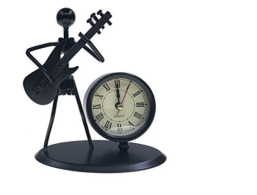 Ahkea Metal Art Musician Clock Figure Ornament For Home Office Desk Decoration Gift (C68 Electric Guitar) ()