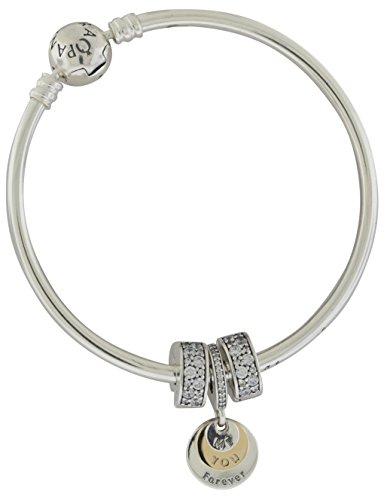 Earrings Bangle 14k Gold - Pandora Silver & 14K Gold Bangle Earrings & Charms Gift Set B800747-17