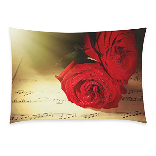 InterestPrint Lovely Red Rose Music Note Home Decor, Vintage Style Music Sheet Soft Cotton Pillowcase 20 x 30 Inches - Beautiful Roses on Music Sheets Pillow Cover Case Shams Decorative