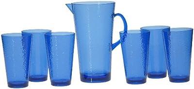 Certified International 7-Piece Hammered Glass Acrylic Hammered Drinkware Set, Cobalt Blue