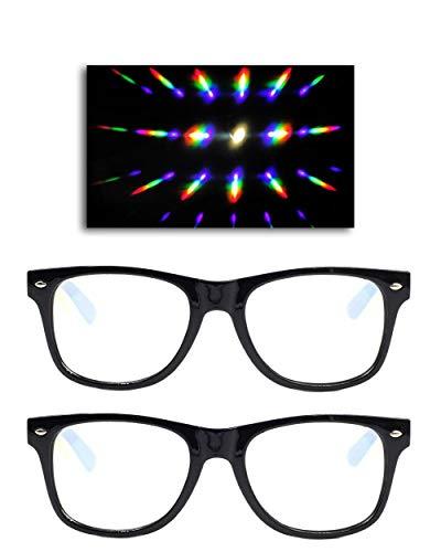 EmazingLights Black Diffraction Light Prism Rave Glasses (2 Pack)