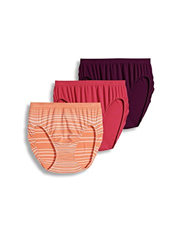 - Jockey Women's Underwear Comfies Microfiber French Cut - 3 Pack, Coral Peach/Absolute Plum/Berry Bloom, 5