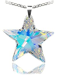 Royal Crystals Made with Swarovski Crystas 24k Gold Plated Sterling Silver Aurora Borealis Star Pendant Necklace, 18