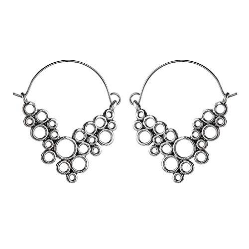 Geometric Metal Dangle Earrings Size Round Grape Bunches Shaped Earrings for Women Teen Girls Ear Jewelry Vintage (silver)