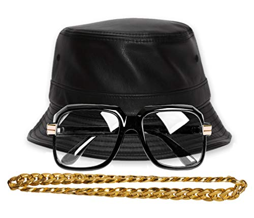 Gravity Trading 90s Hip-Hop Gold Chain Kit - Faux Leather -