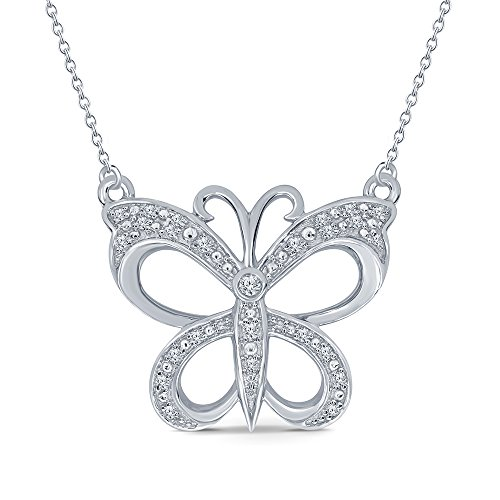La Joya 1/8 ct Round White Natural Diamond 925 Sterling Silver Butterfly Pendant Necklace for Teens Womens