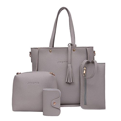Purses Outlet (4 Set Women Handbag Shoulder Bags Emubody Tote Bag Crossbody Wallet Shopper (gray))