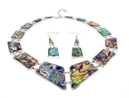 (Rectangle Shapes Abalone Shell Necklace Earrings Set (Natural) )