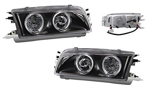 SPPC Headlights Black Assembly Set Halo For Mitsubishi Mirage - (Pair) Driver Left and Passenger Right Side Replacement Headlamp