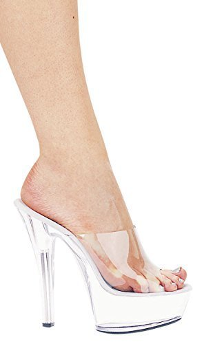 Ellie Shoes Women's 601 Vanity Platform Sandal Clear/Red