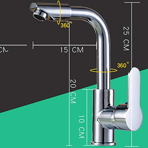 Hot and Cold redary Head Alloy Without Tube (Hot and Cold) JWLT faucets The Sink is Turned into a Brass Kitchen hot and Cold Kitchen redating Washing Basin Long Nozzle Faucet is not Easy to Fracture Ceramic Spool,304 Turn Head with 60cm Tube (hot and Cold