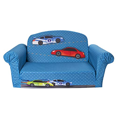 Mats Delta Car - Marshmallow Furniture - Children's 2 in 1 Race Car Flip Open Foam Sofa