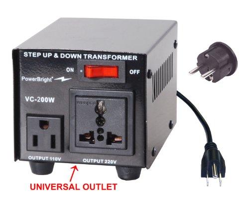 Power Bright VC200W Voltage Transformer 200 Watt Step Up/Down converter  110/120 Volt - 220/240 (European Power Converter 200w)