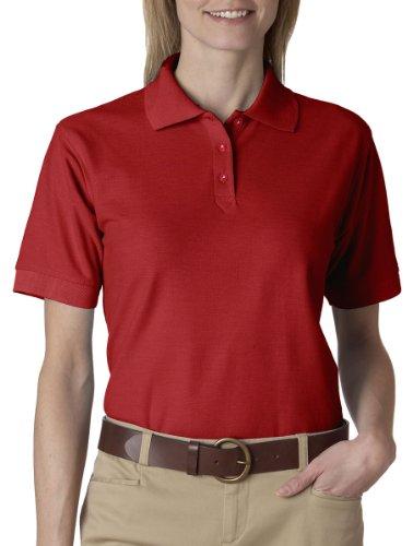 UltraClub Ladies Whisper Pique Polo - Red - XL