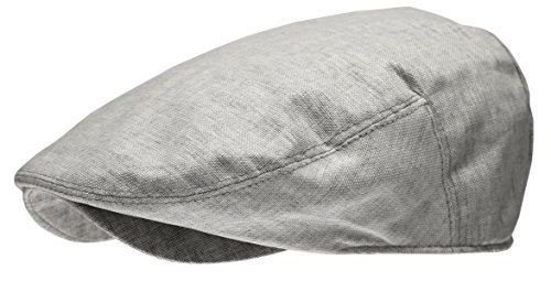 Men's Linen Flat Ivy Gatsby Summer Newsboy Hats (Light Grey, ()