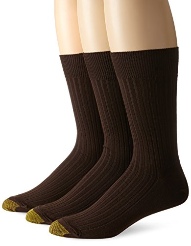 - Gold Toe Men's Classic Canterbury Crew Socks (Pack of 3), Brown, Shoe Size: 6-12.5