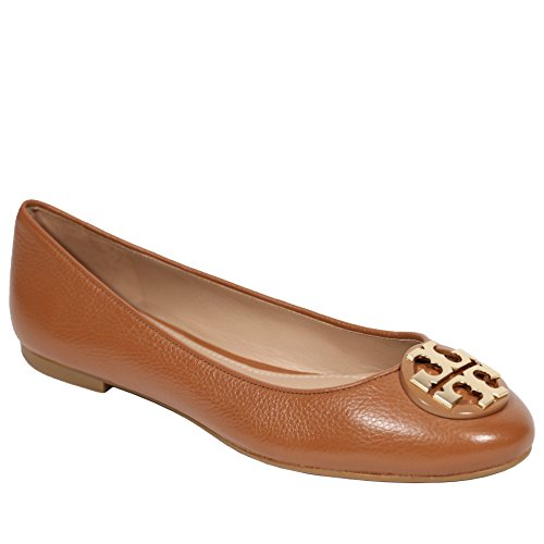 (Tory Burch Tumbled Leather Claire Ballet Flat (9, Royal Tan))