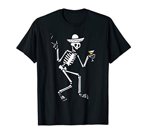 Skeleton Drinking In A Bar Sombrero Day Of The Dead T-Shirt]()