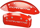 MGP Caliper Covers 13008SCV6RD Caliper Cover (Red Powder Coat Finish, Engraved Front and Rear: C6/Corvette, Silver Characters, Set of 4)