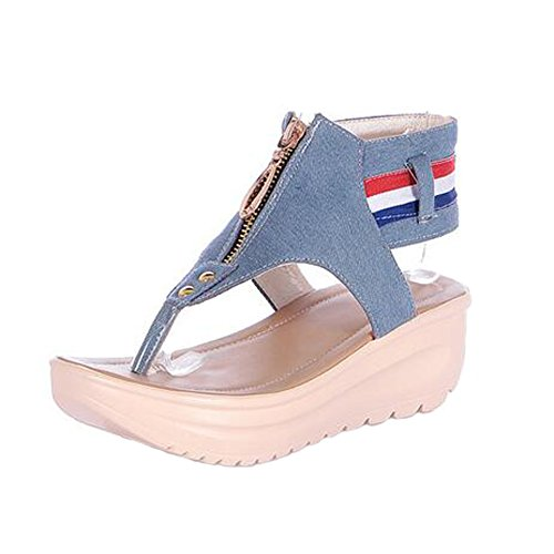 Angelliu Kvinners Corean Uformelle Denim Leiligheter Flip Flops Plattform Sandaler Lys Blå