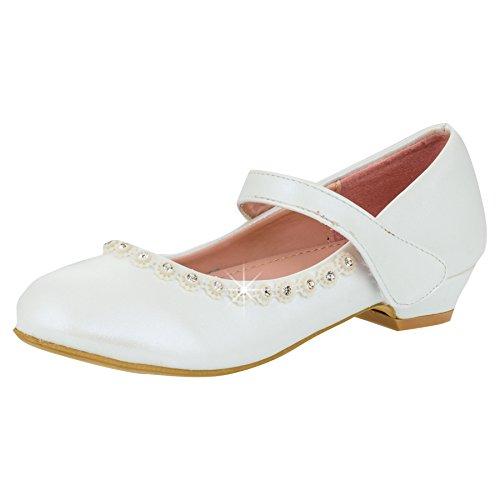 Mädchen Schuhe Ballerinas in weiss oder Schwarz #128ws Weiss