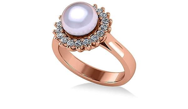 Anillo de compromiso con halo de Perla y Diamante 14k Oro rosa 8mm (0.36ct), Anillo de compromiso de oro Por siempre uno, Anillo de matrimonio, ...