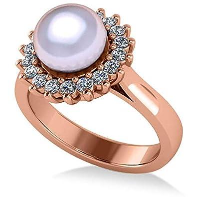 Anillo de compromiso con halo de Perla y Diamante 14k Oro ...