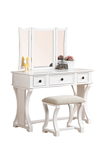 Poundex Bobkona Edna Vanity Set with Stool, White