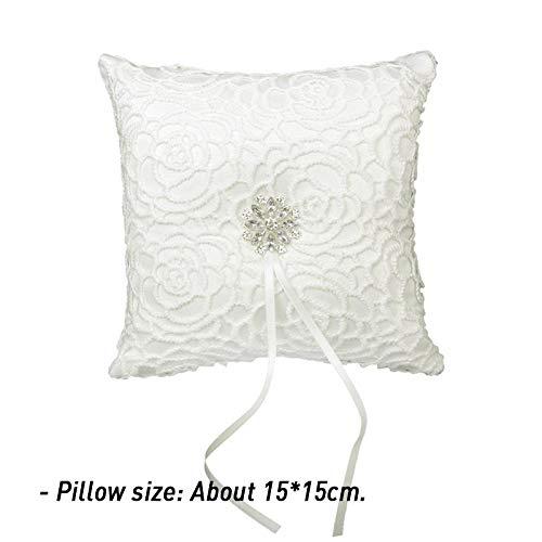 Viet JK Wedding Decorations - Lace Flower Decorated Bridal Wedding Ceremony Pocket Ring Bearer Pillow Cushion Wedding Accessories Decoration ()