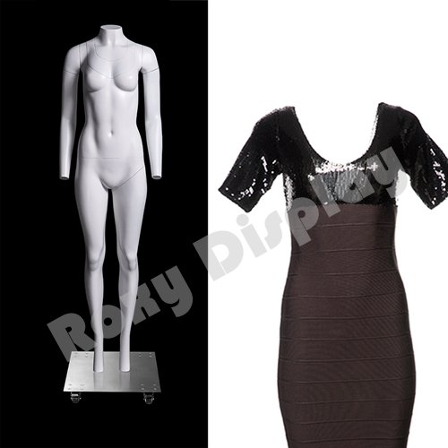 (MZ-GH2--S) ROXYDISPLAY™ Invisible Ghost Mannequin! Female Invisible Mannequin with magnetic fittings With nice figure and arms,round neck. Removable neck and Arms. by ROXYDISPLAY™