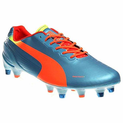 Sharks Rugby - PUMA Men's Evospeed 1.2 Mixed Soft Ground Soccer Shoe,Sharks Blue/Fluorescent Peach/Fluorescent Yellow,8 M US