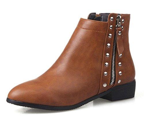 de baratas botas botas mujeres las de y tacones mujeres botas botas de bajos botas remaches de brown grandes KUKI las mujeres otoño los caballeros dark las invierno el 0wRIBxqI