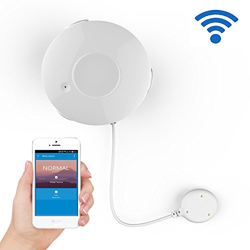 Smart WiFi Water Sensor, Flood and Leak Detector Alarm and App Notification Alerts, Free TuyaSmart app works with Alexa and Google Home