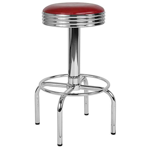 Flash Furniture Retro Diner Barstool with Chrome Base in Red Vinyl
