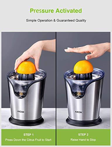 AICOK Presse Agrumes Electrique, Presse Orange Electrique con 2 Cônes Interchangeables pour Orange, Citron, Pamplemousse…